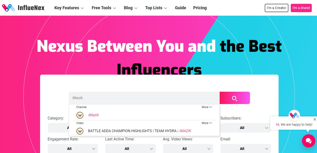 How to Check Engagement Rate with InflueNex? - Open InflueNex and register on the tool