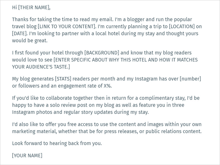How to Contact Brands as Influencers - Template for Requesting a Free Stay
