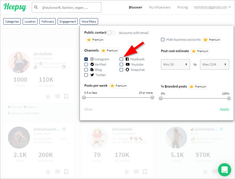 How to Contact Media Influencers - Turn on Facebook Filter