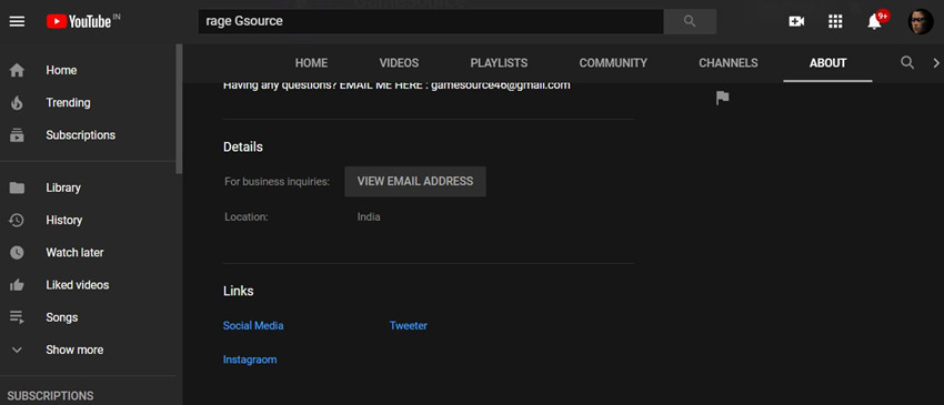 How to Contact Minecraft YouTubers - Go to About section and view email address
