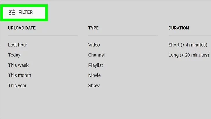 How to Find Contacts on YouTube - Filter search content