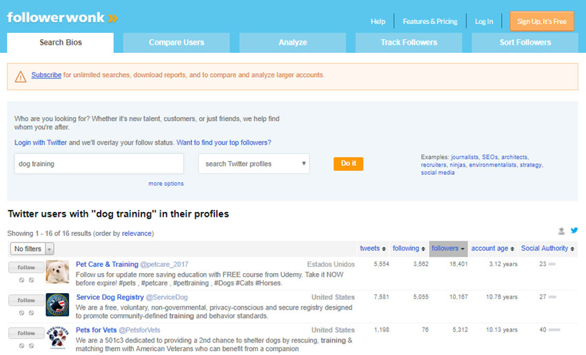 How to Look for Twitter Influencer Rating - Look Through List of Twitter Users