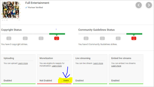 How to Monetize YouTube Videos - Select Enable