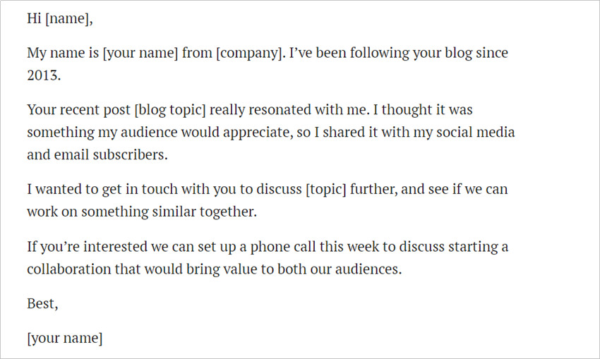 Most Helpful Influencer Contact Templates - Start of a Collaboration