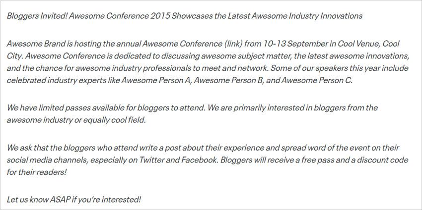 Most Helpful Influencer Contact Templates - The Event Invitation
