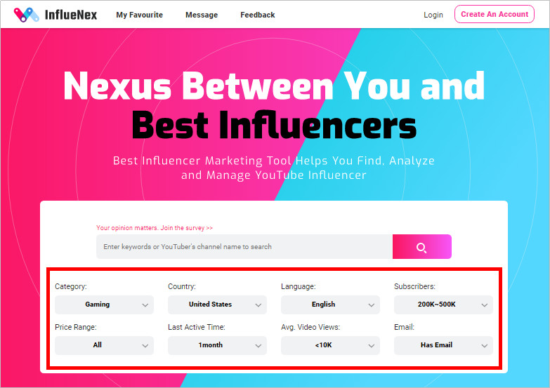 Most Helpful Influencer Database to Find Influencers - Sort Influencers with InflueNex Score