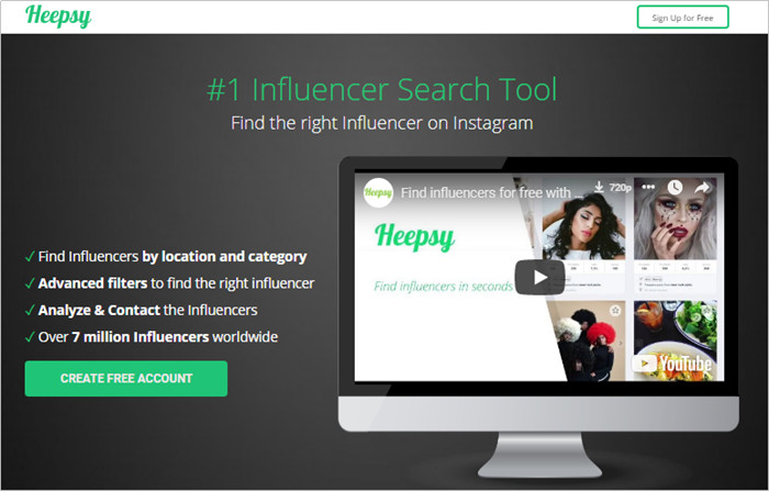 Most Helpful Influencer Database to Find Influencers - Heepsy