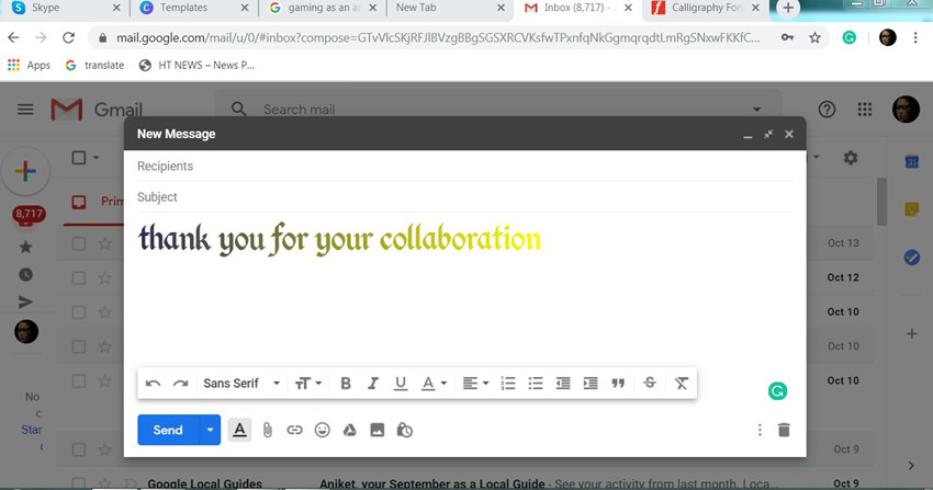 How to Write Thank You Collaboration Email to Influencers - Photo stock and calligraphy email sample